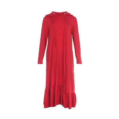 frill detail hoody dress red